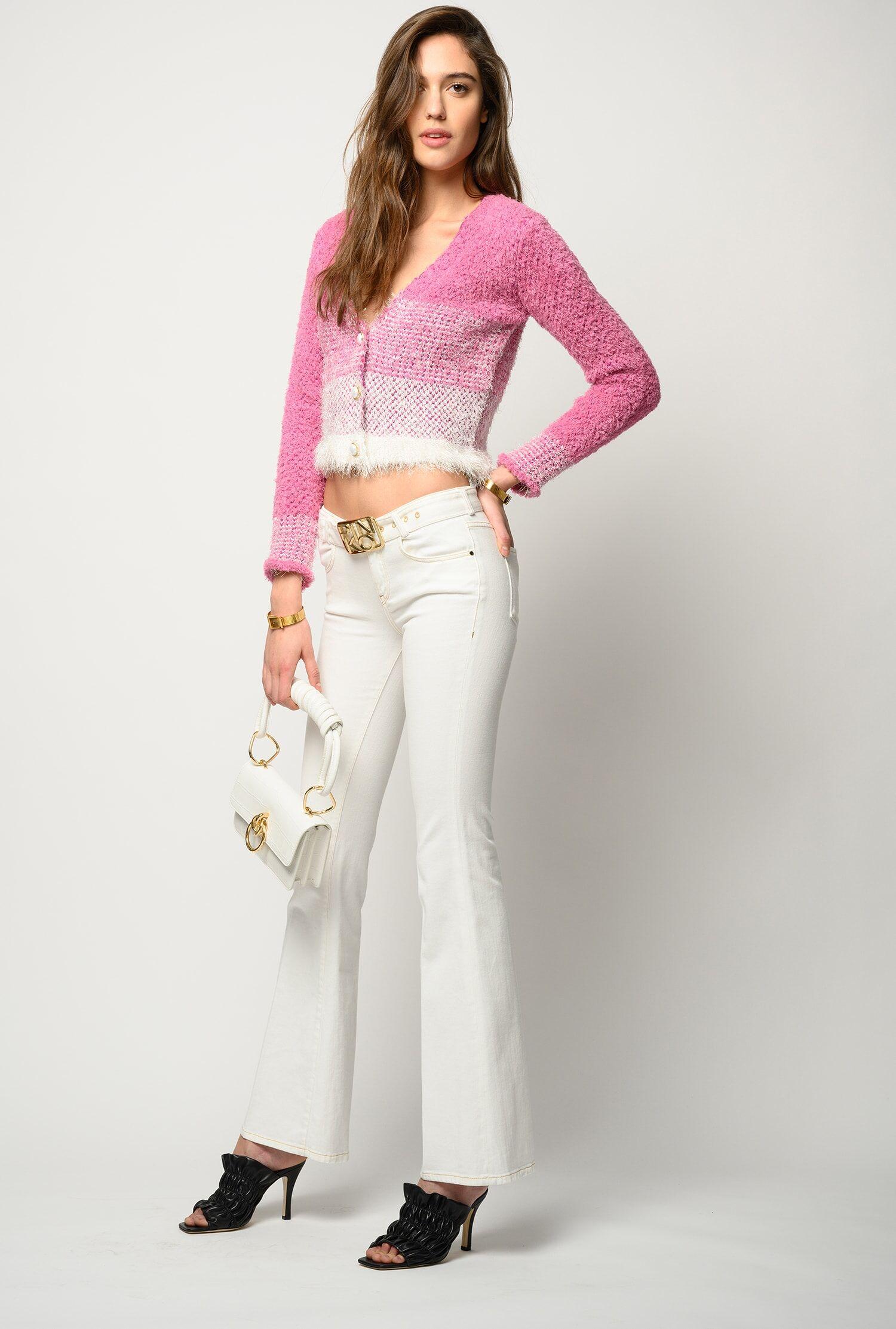 Pantaloni Flared Con Cintura Logo - Pinko