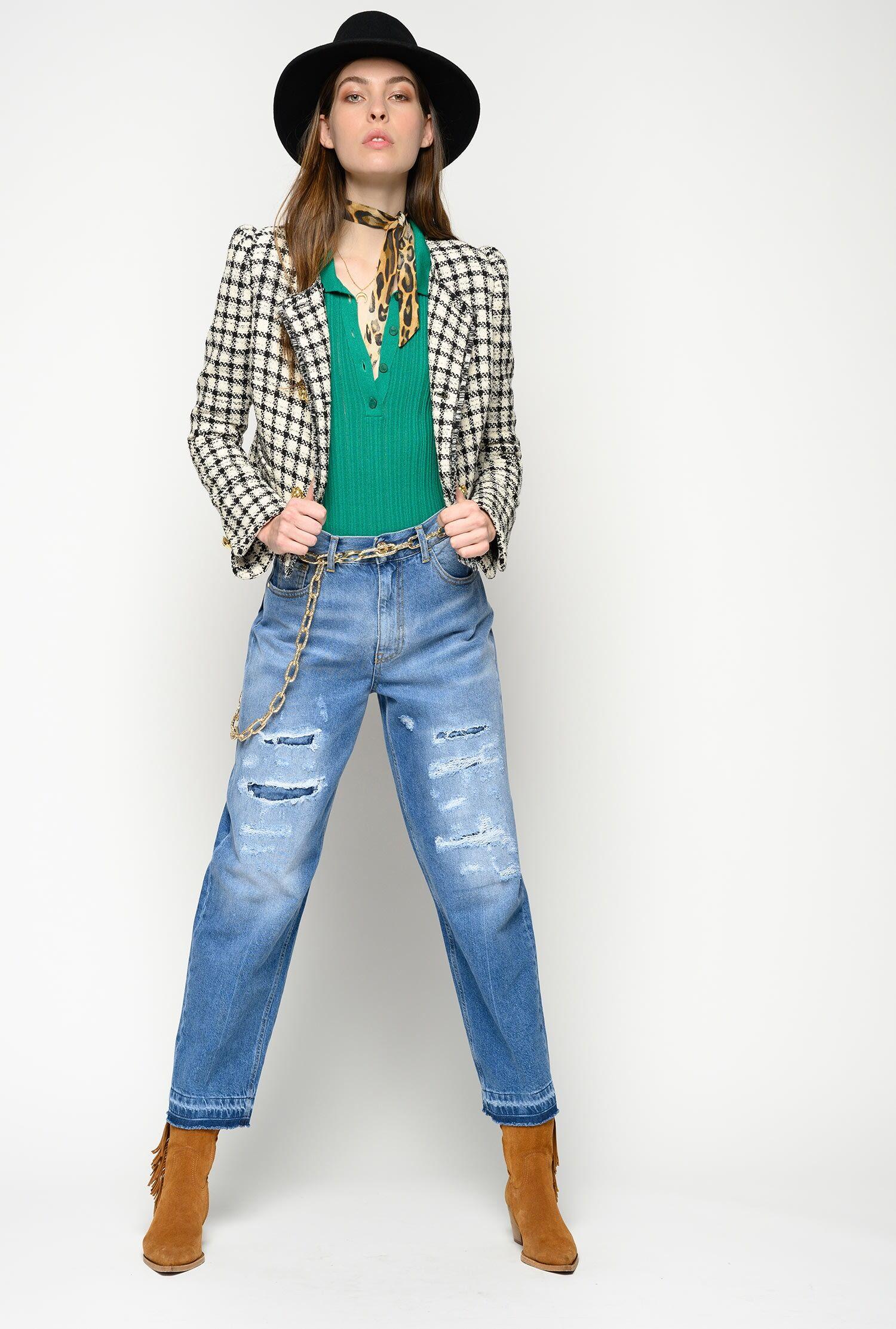 Jeans Mom-Fit Con Strappi - Pinko