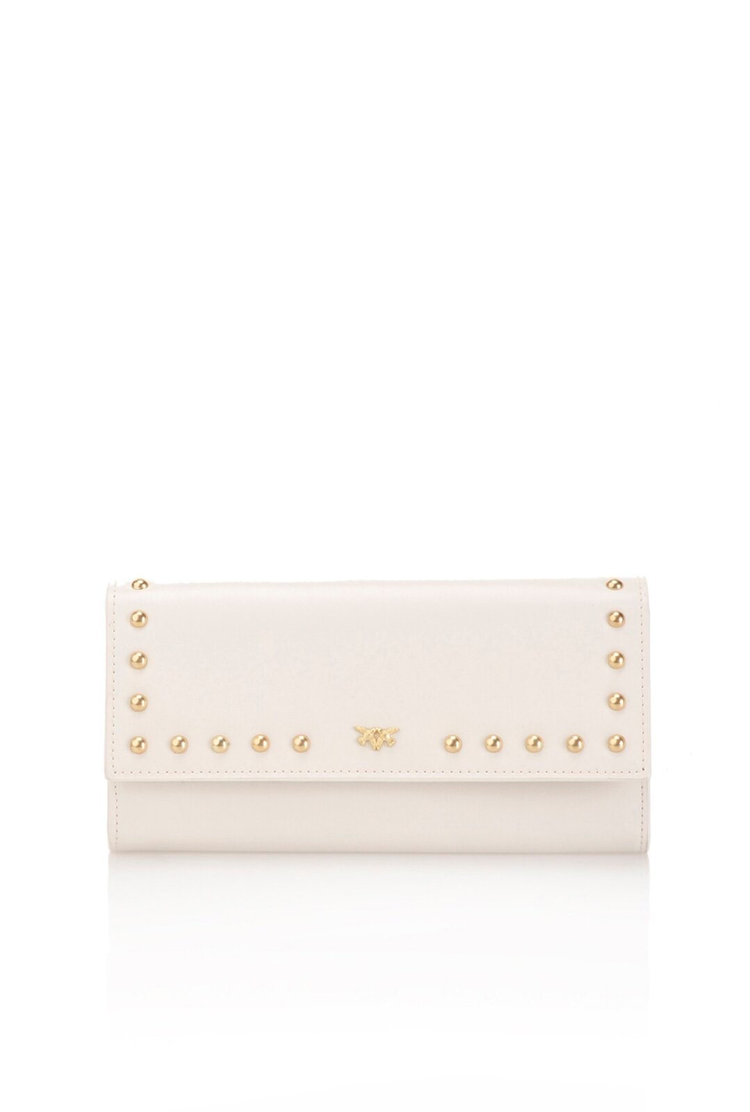 Continental Wallet In Leather With Studs - Pinko