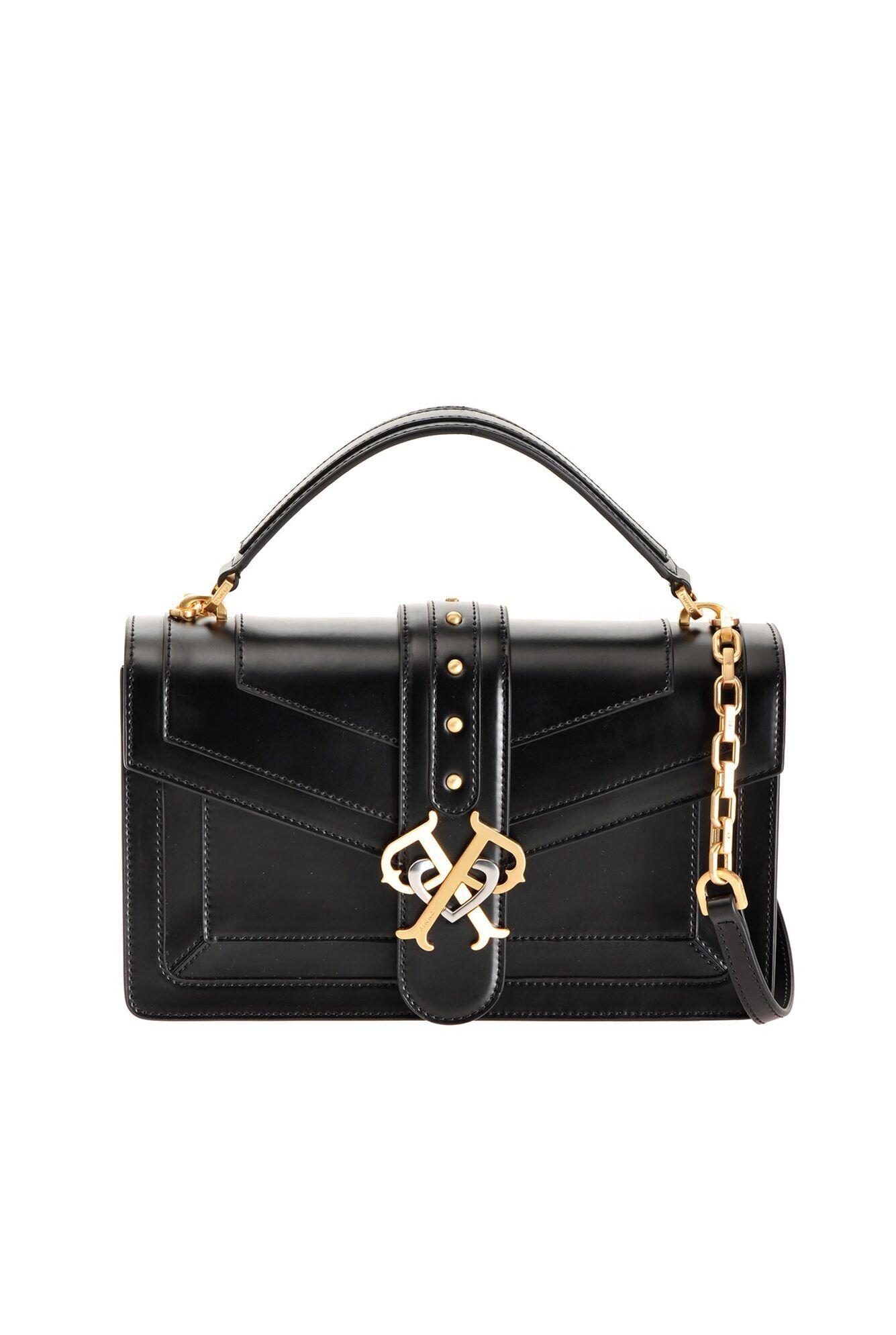 Classic Double P Bag Icon Classique In Pelle Spazzolata - Pinko