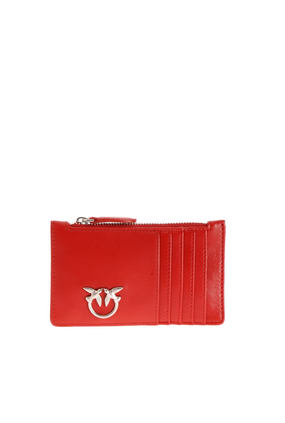 Credit Card Holder In Nappa Leather With Zip - Pinko