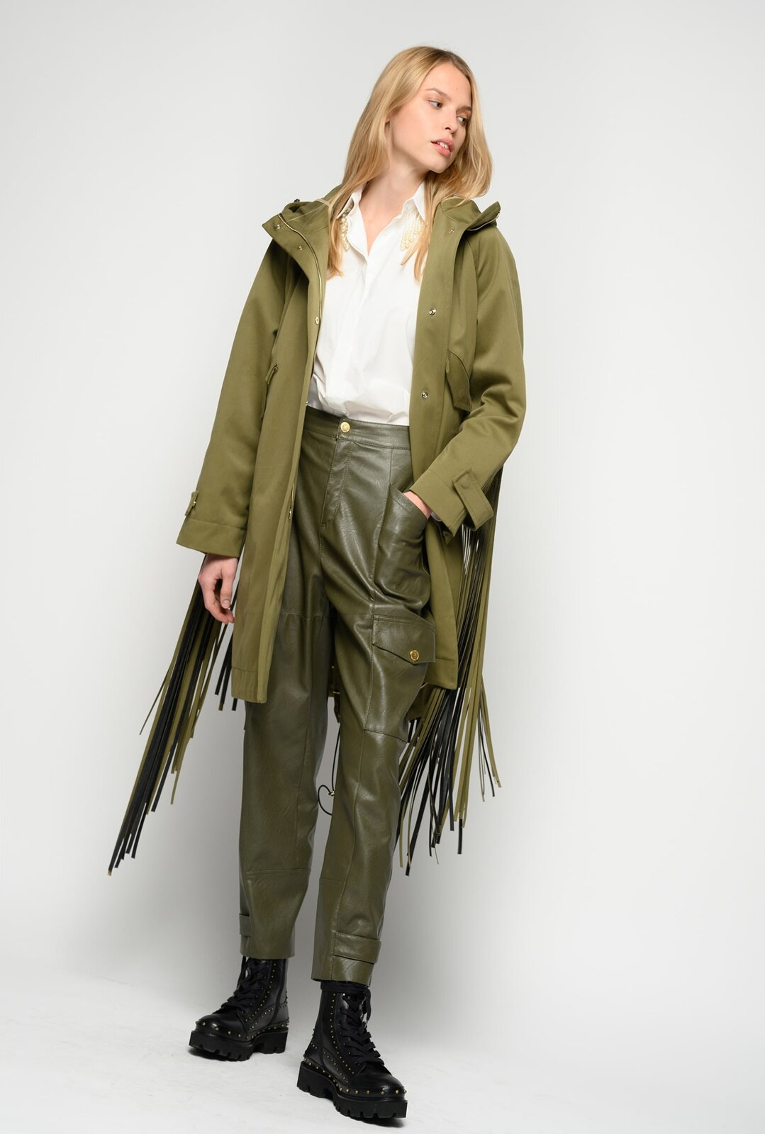 Parka With Fringes - Pinko