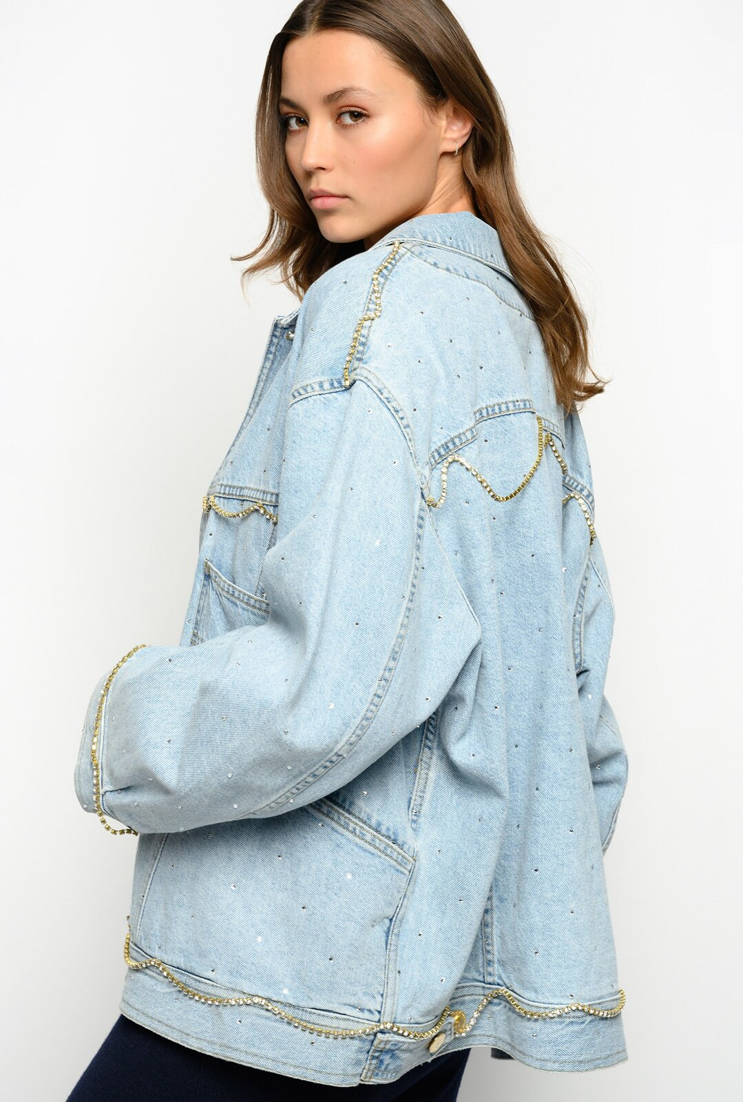 Denim Jacket With Strass - Pinko