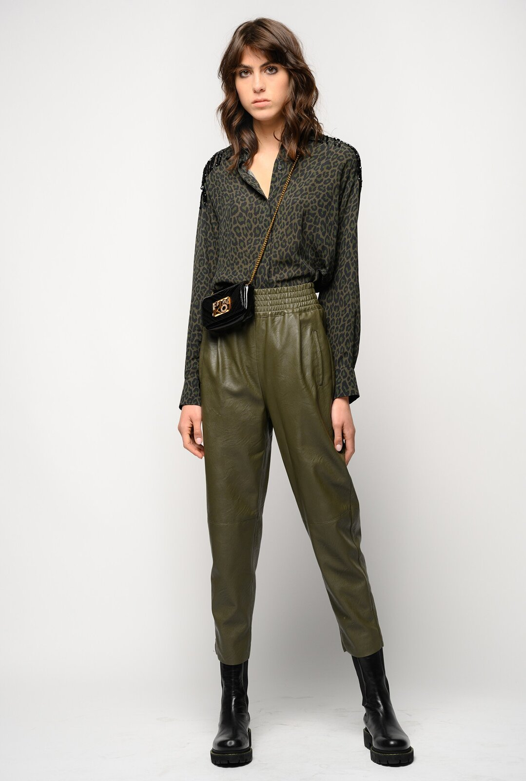 Trousers With Leather Effect Pences - Pinko
