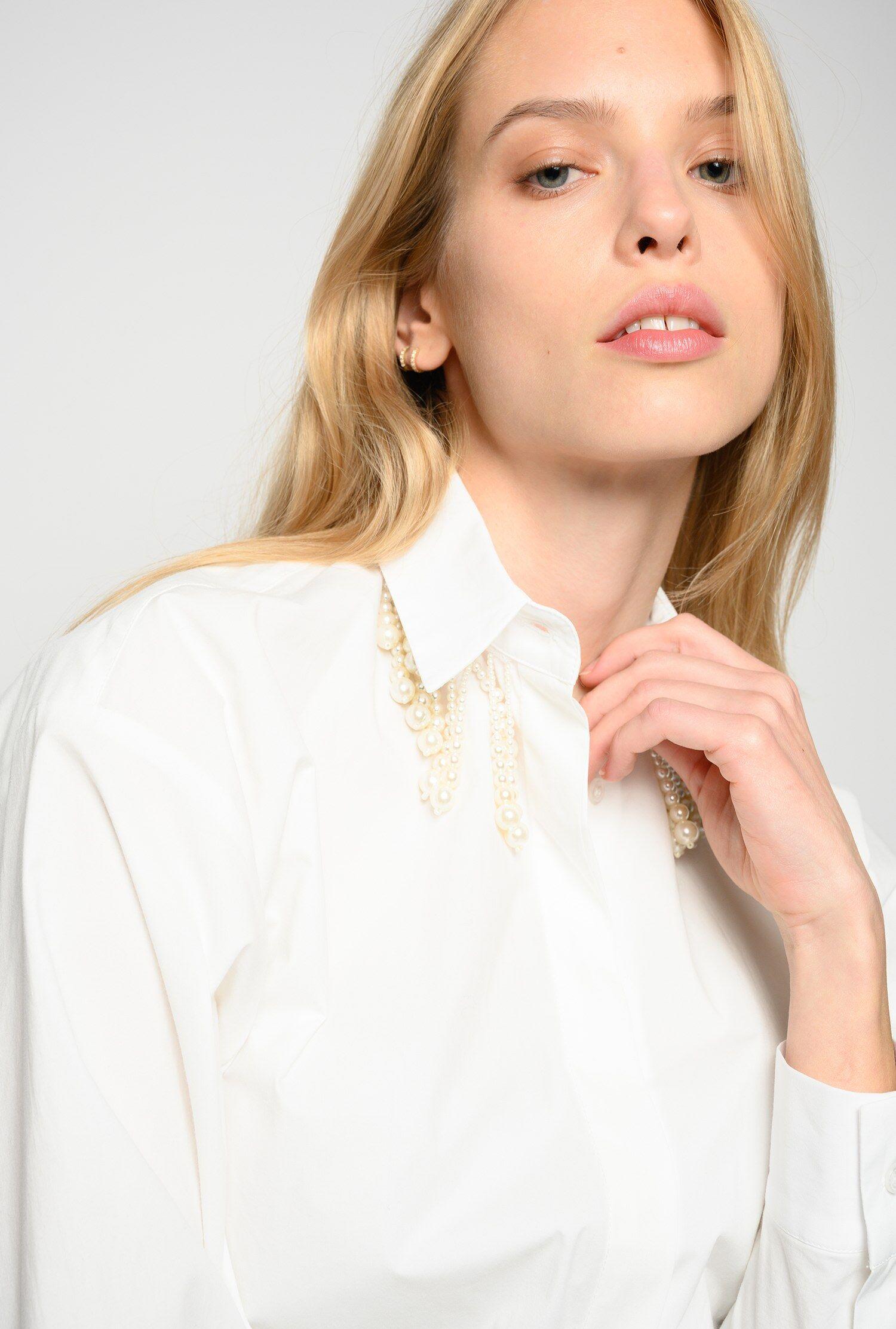 Camicia Con Perline Sul Colletto - Pinko