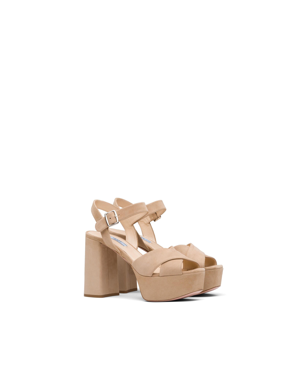 Sandali in pelle scamosciata con plateau - Prada