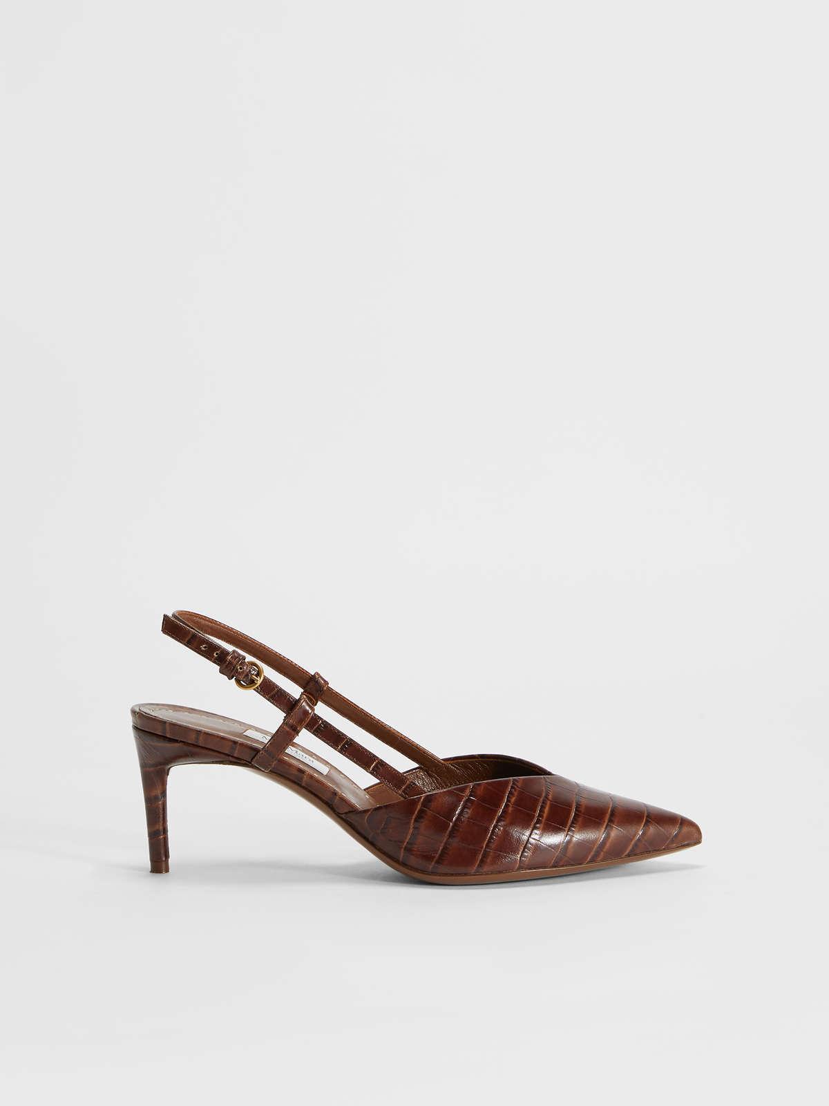 Crocodile print leather slingbacks - Max Mara