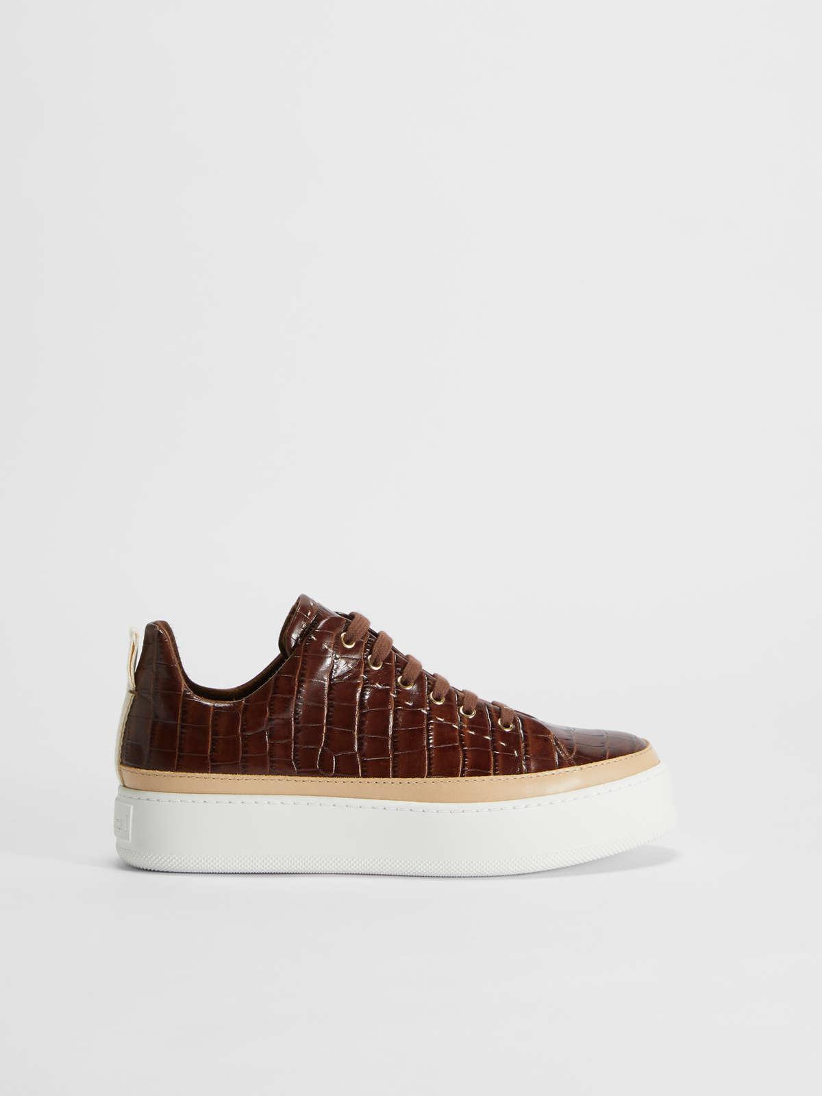 Crocodile print leather sneaker - Max Mara