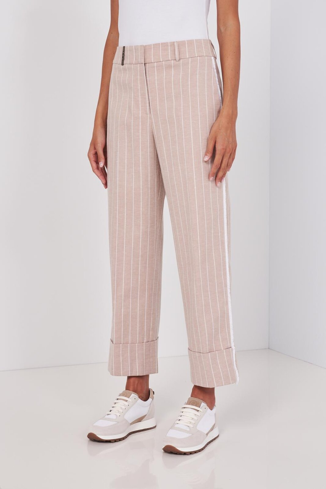 Slightly Stretch Cotton And Linen Wide Leg Pants. Striped Pattern, Two Side Pockets And Two Back Welt Pockets, Side Band, High Waist, Zip And Hook Closure. Wide fit. - Peserico