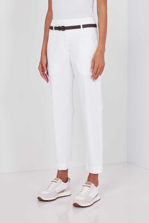 Pantalone In Puro Lino A Vita Alta, Con Cinturina In Pelle Inclusa. Chiusura Con Zip Nascosta. Vestibilità Slim. - Peserico