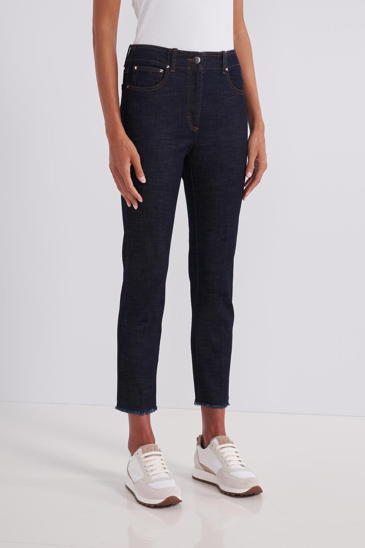 5 Pockets Denim In 'Raw' Dark Wash Stretch Cotton Canvas. Slightly frayed bottom. High Waist, Slim Fit. Button And Zip Closure. - Peserico