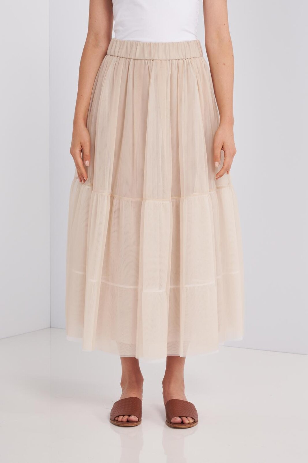 Long Two-tone Tulle Skirt With Elastic Waist. Underskirt To Create Volume, Loose Fit. - Peserico