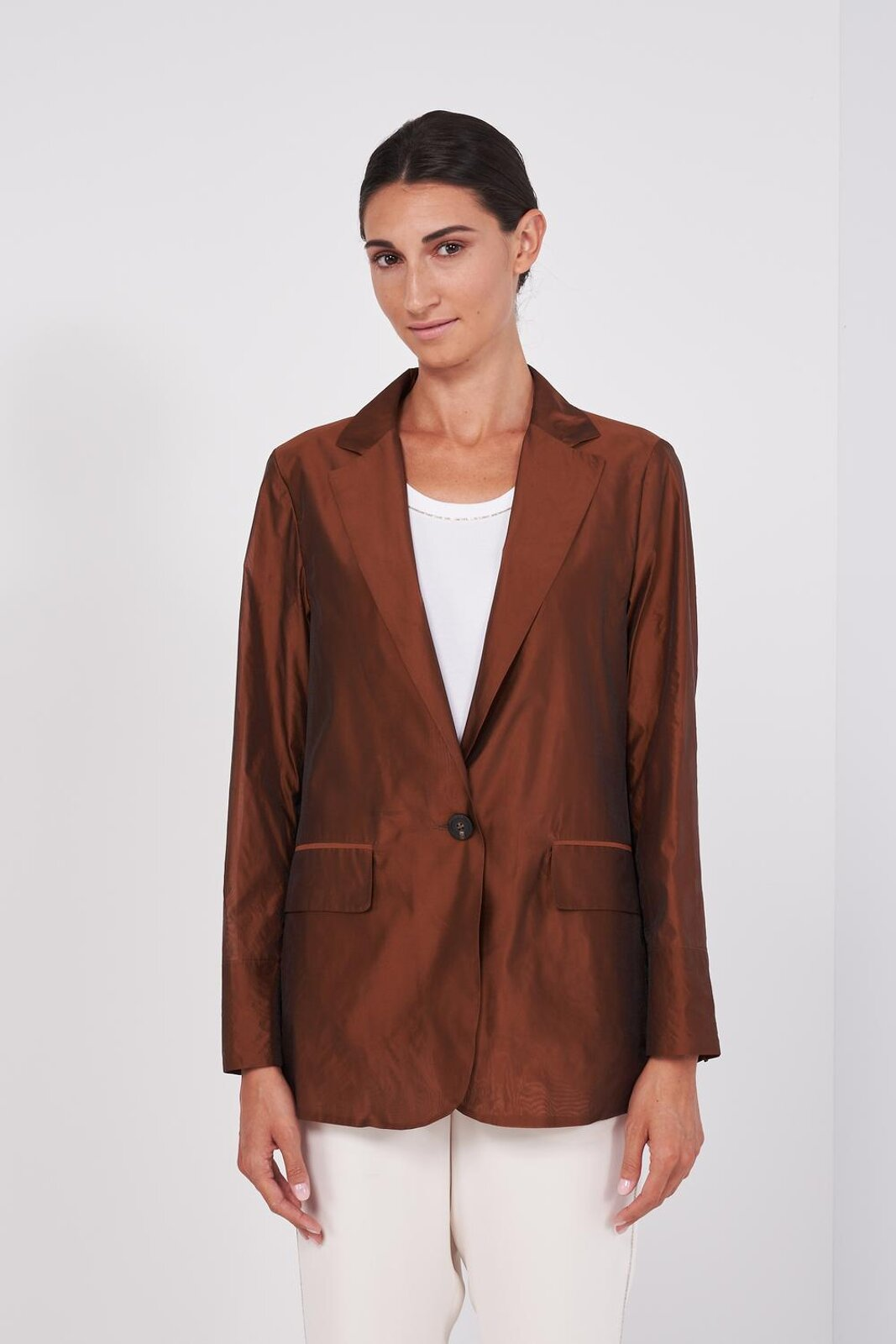 Long Sleeve Structured Blazer Jacket In Organza Fabric. Two Front Buttons, Side Pockets. Straight and regular fit. - Peserico