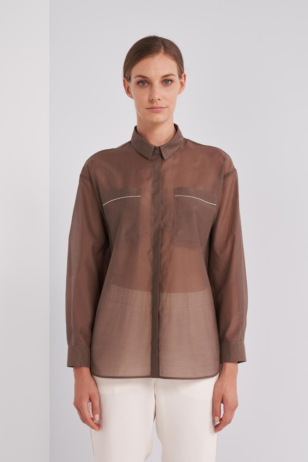 Long-sleeved shirt in fluid cotton and silk fabric, slightly transparent. Two 'Patch' Pockets On The Chest With Metallic Decorations, Concealed Button Closure. Over fit. - Peserico