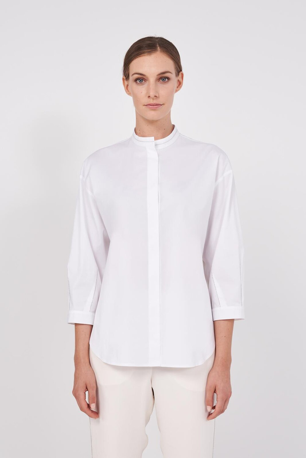 Pure Cotton Slightly Stretch Long Sleeve Shirt. 'Mandarin' Collar, Slightly Balloon Sleeves, Metal Shiny Points On The Sleeve, Closure With Front Hidden Buttons. Soft fit. - Peserico