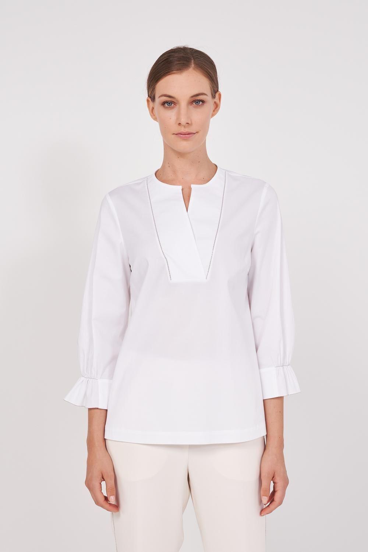 Long Sleeve Stretch Cotton Poplin Shirt. Crossed neckline, cuffs with puff decoration, metallic details on the neckline. Regular fit. - Peserico