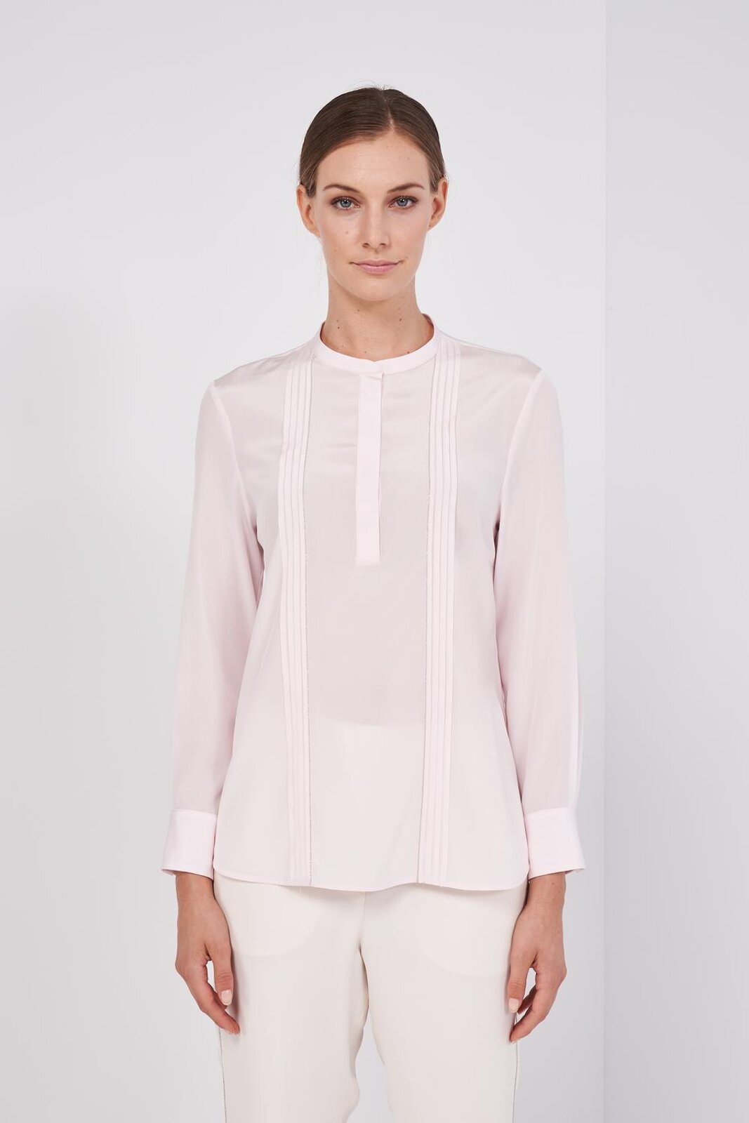 Slightly Stretch Silk Crepe Long Sleeve Shirt. 'Mandarin' collar with button closure on the back, details worked on the front with light points. Regular fit. - Peserico