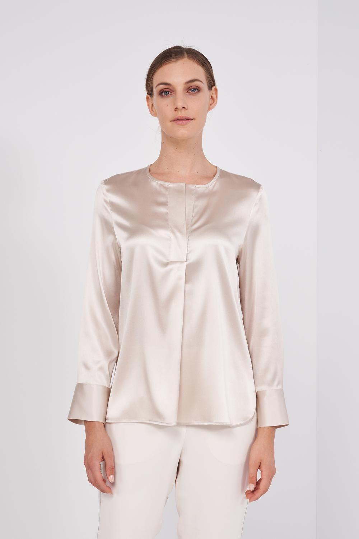 Long Sleeve Shirt In Soft Slightly Satin Silk. Overlapping V-neckline, Small Light Point Details on the Neckline. Regular fit. - Peserico