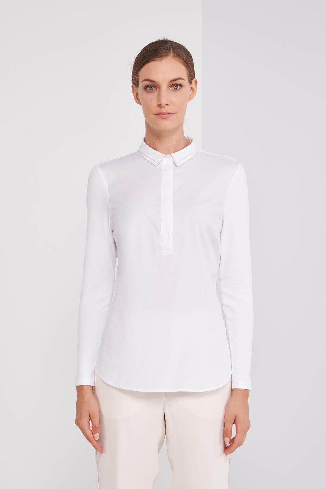 Pure Cotton Slightly Stretch Long Sleeve Shirt, Metallic Detail On The Collar. Slim fit. - Peserico