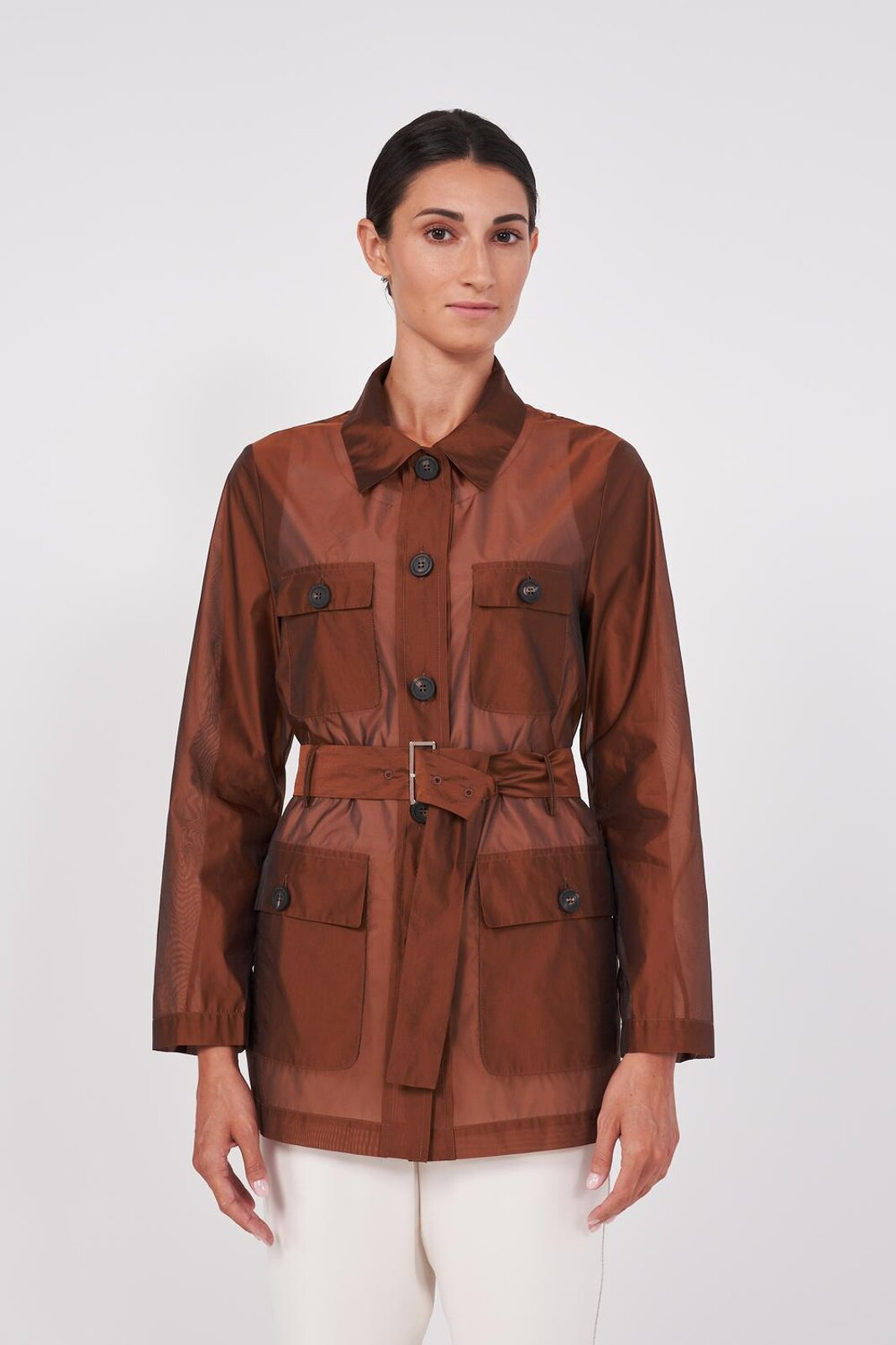 Long Sleeve Safari Style Jacket In Fluid And Slightly Transparent Organza. Two Pockets Applied On The Front, Front Button Closure, Adjustable Fabric Belt With Metal Buckle. Regular fit. - Peserico