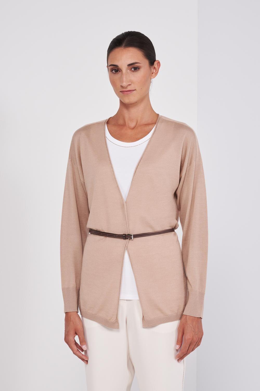 Lightweight Virgin Wool, Silk And Cashmere Long Sleeve Cardigan. V-Neck, Adjustable Waist Leather Belt. Regular fit. - Peserico