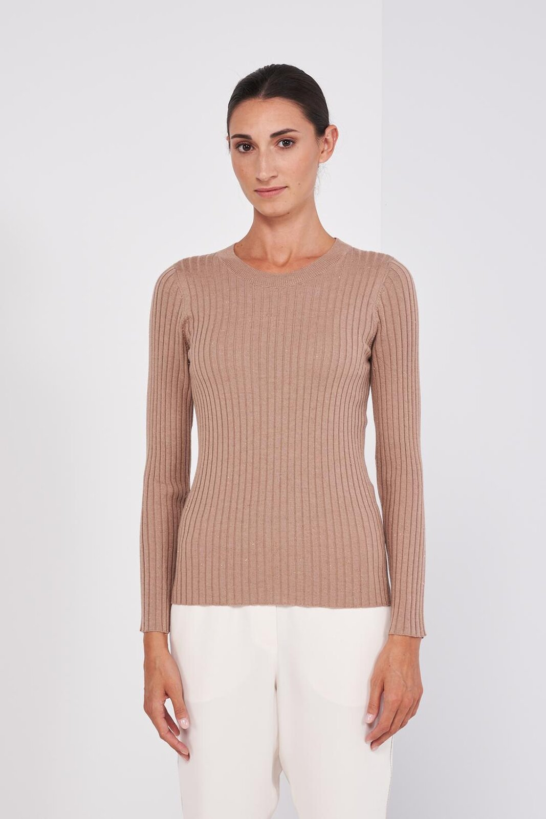 Crewneck Sweater In Virgin Wool And Light Viscose With Lurex Threads In The Weft. Ribbed workmanship, Adherent fit. - Peserico