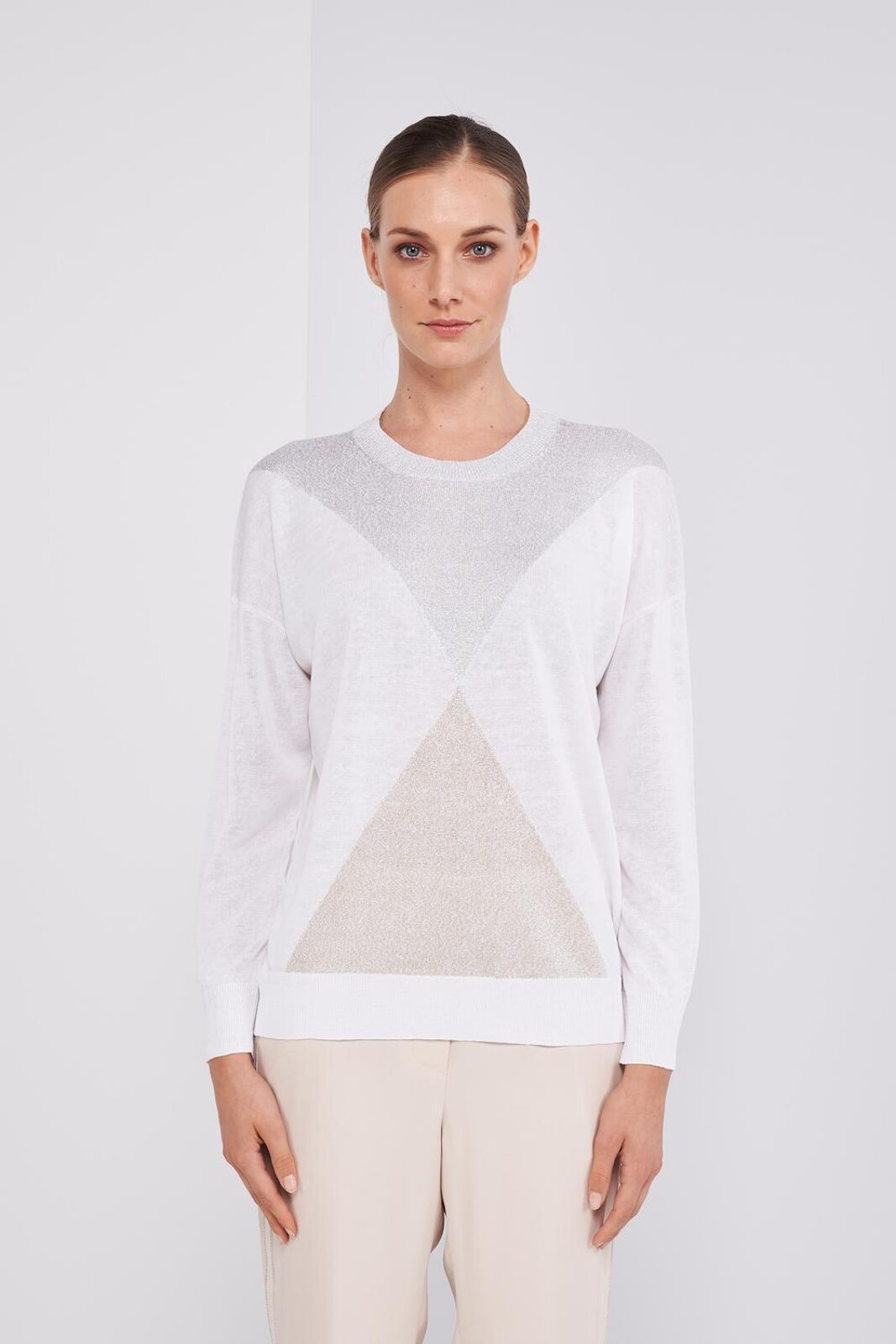 Crewneck Cotton And Linen Tricot Sweater. Long Sleeve, Diamond Pattern With Lurex Threads, Ribbed Neckline, Cuffs And Bottom. Regular fit. - Peserico