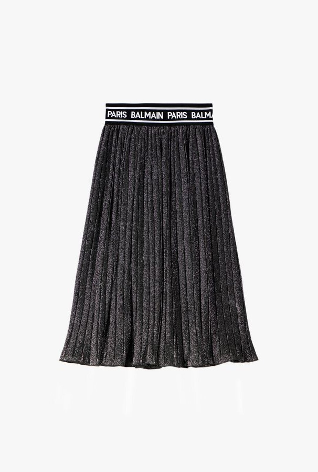 Pleated Skirt With Balmain Logo Print - Balmain Junior