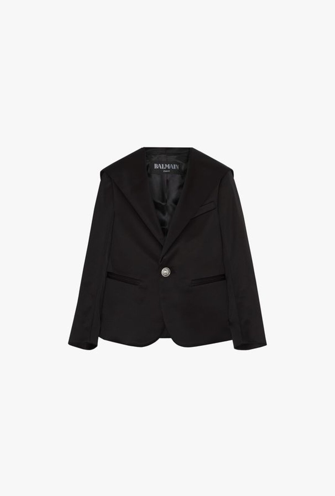 Black Viscose Blazer With Hood - Balmain Junior