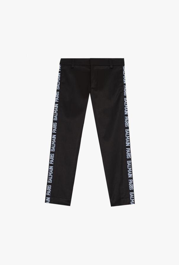 Black Pants With Side Bands With Balmain Logo - Balmain Junior