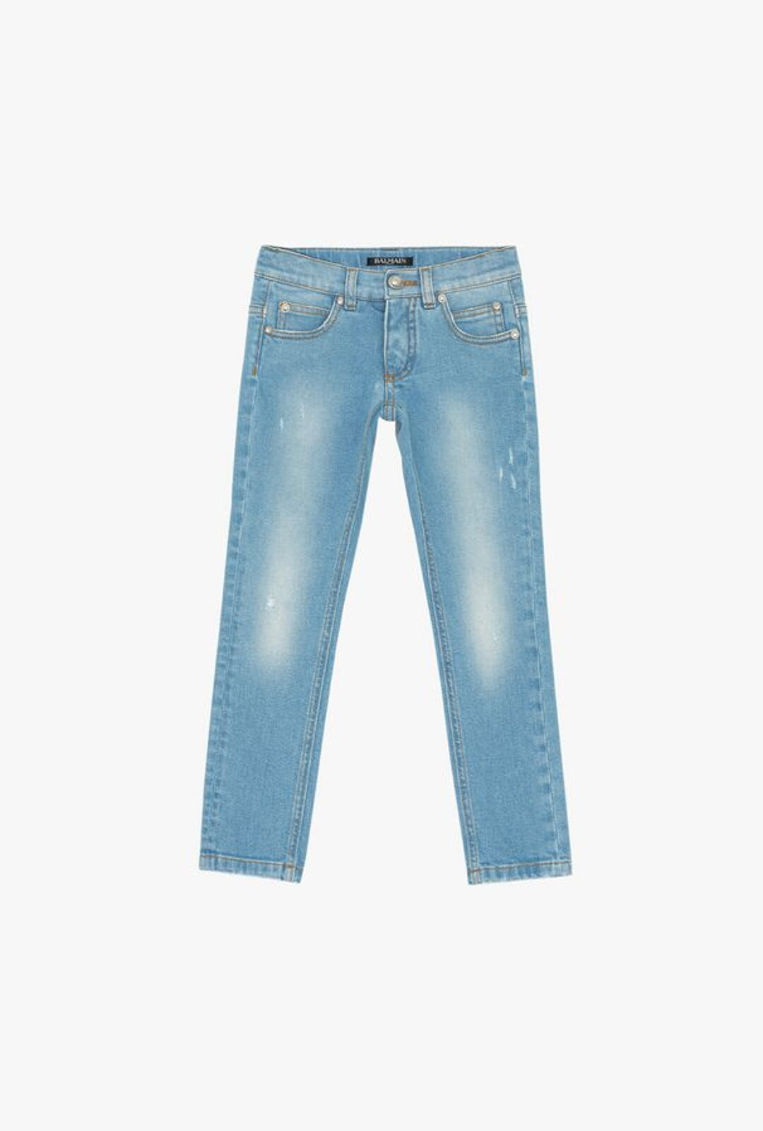 Light Blue Cotton Jeans With Faded Effect - Balmain Junior