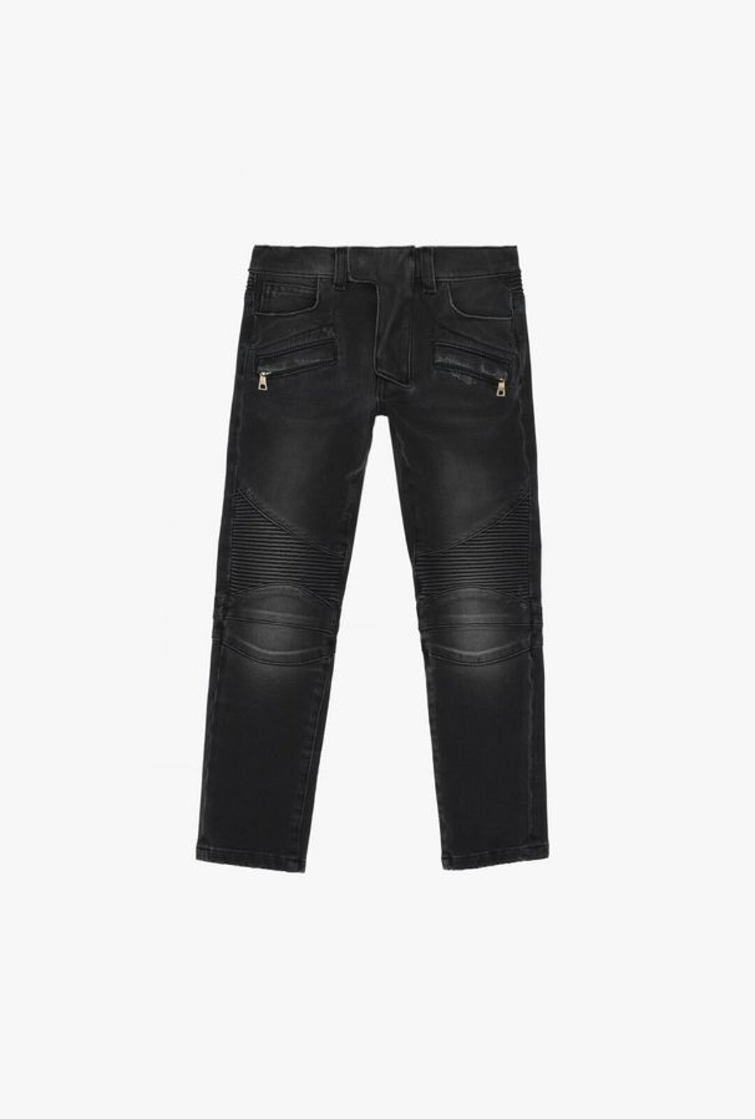 Black Cotton Jeans With Faded Effect - Balmain Junior
