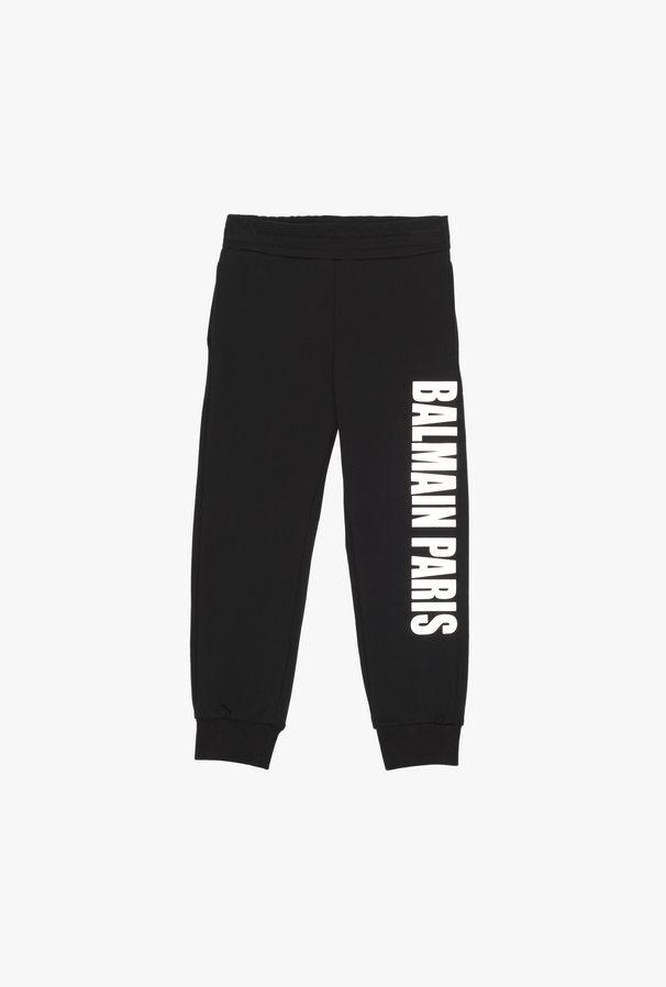 Black Cotton Sweatpants With Balmain Logo Print - Balmain Junior