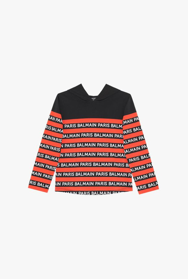 T-Shirt Nera In Cotone A Righe Con Cappuccio E Logo Balmain - Balmain Junior