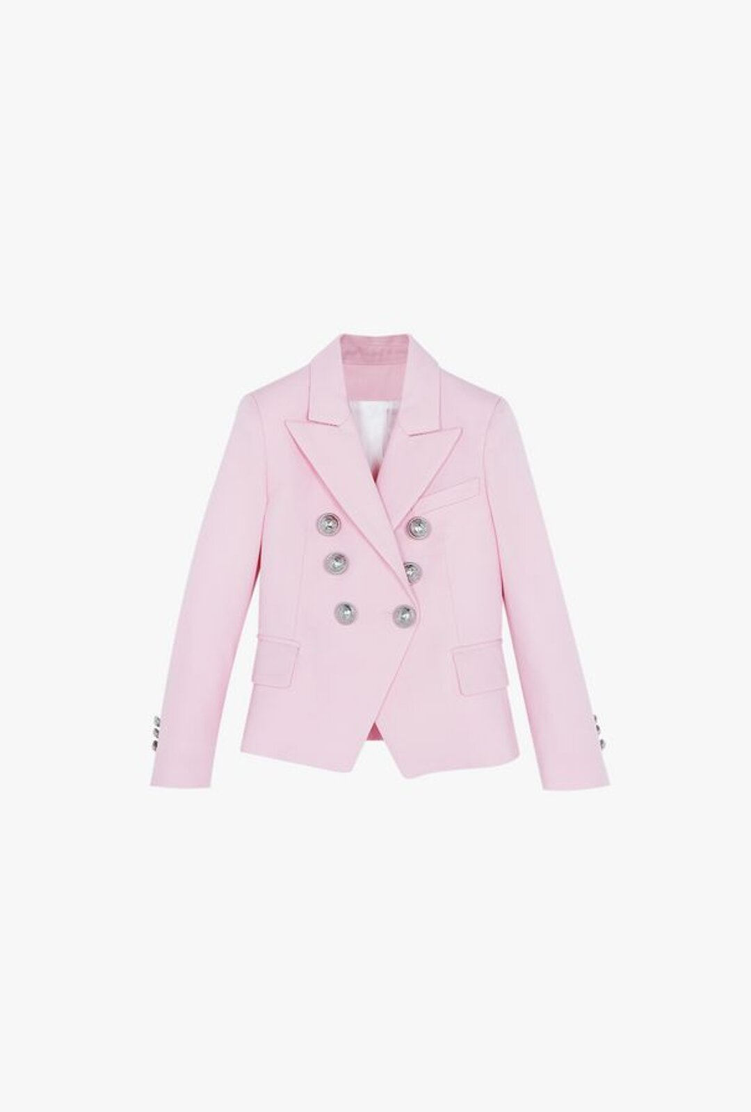Double-Breasted Pink Wool Blazer With Silver Buttons - Balmain Junior