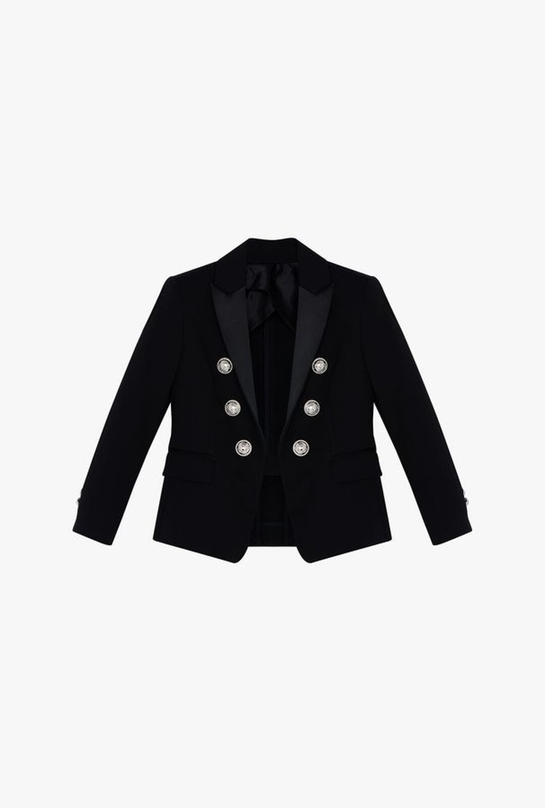 Double-Breasted Black Cotton Blazer With Silver Buttons - Balmain Junior