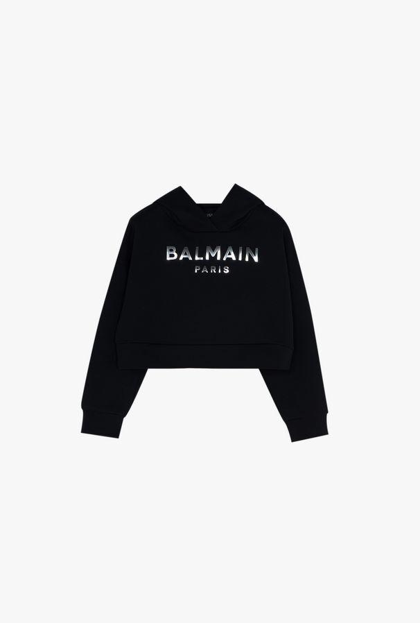 Felpa Corta In Cotone Nero Con Cappuccio E Logo Balmain Argento - Balmain Junior