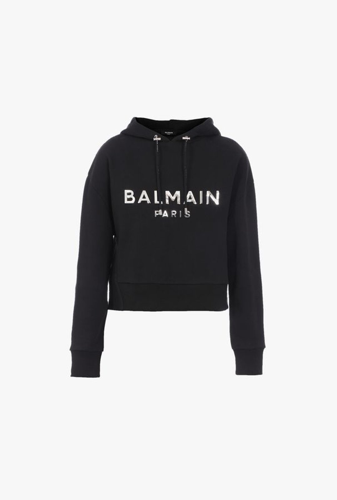 Short Sweatshirt In Black Cotton With Hood And Silver Balmain Logo - Balmain