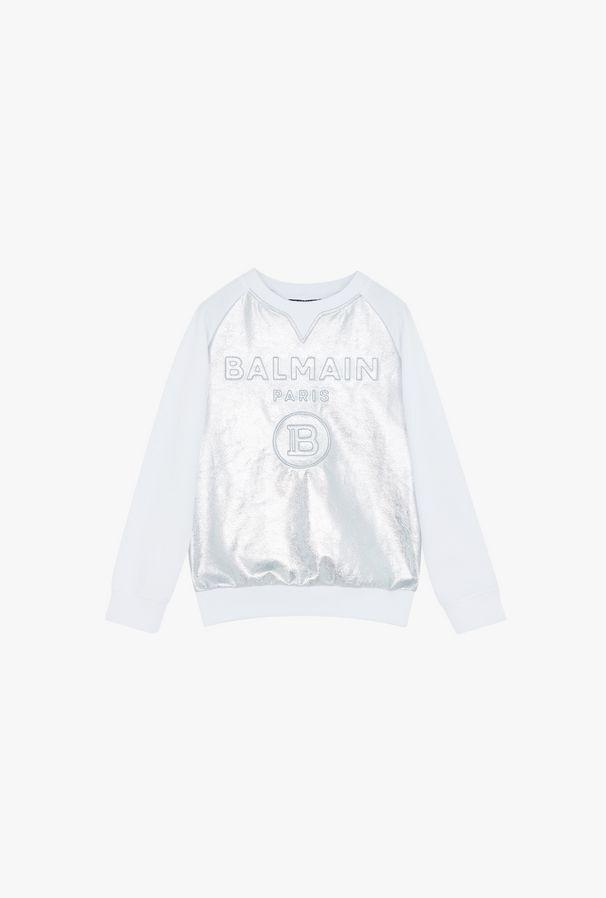 Felpa Bianca In Cotone Con Logo Balmain Goffrato Argento - Balmain Junior