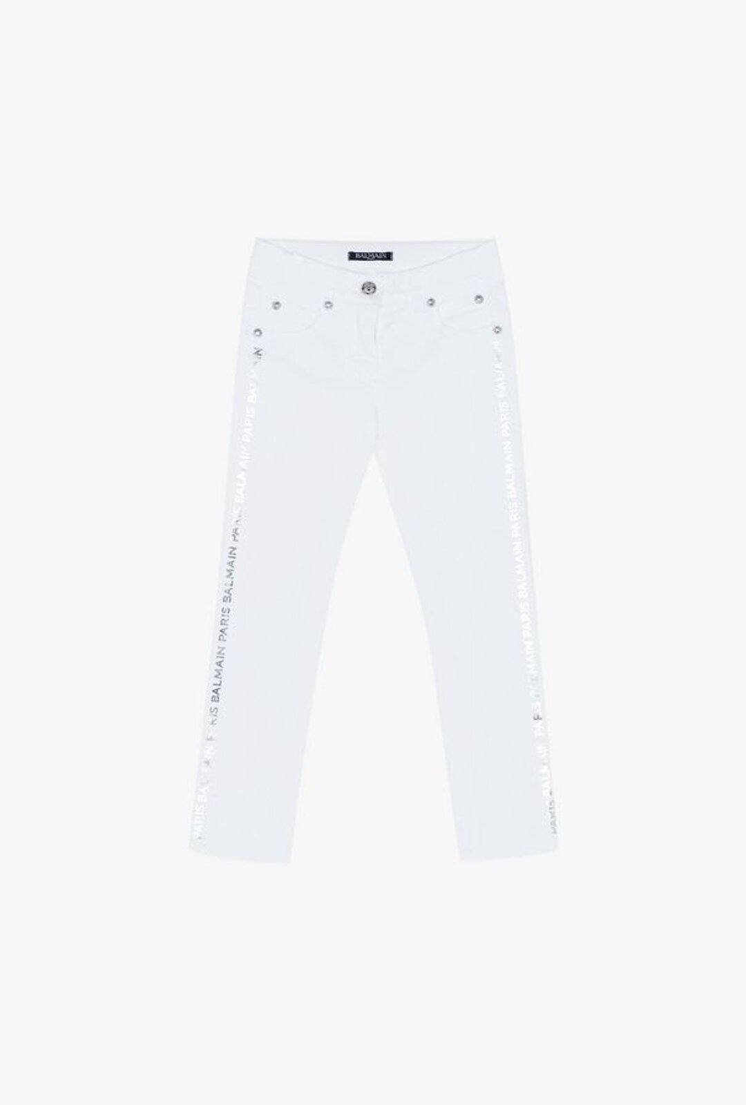 White Cotton Jeans With Silver Balmain Logo Print - Balmain Junior