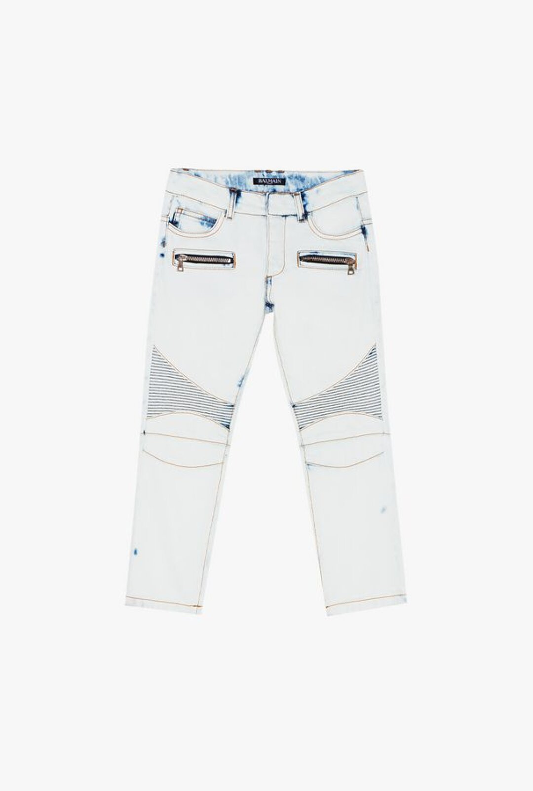 Blue Cotton Jeans With Faded Effect - Balmain Junior