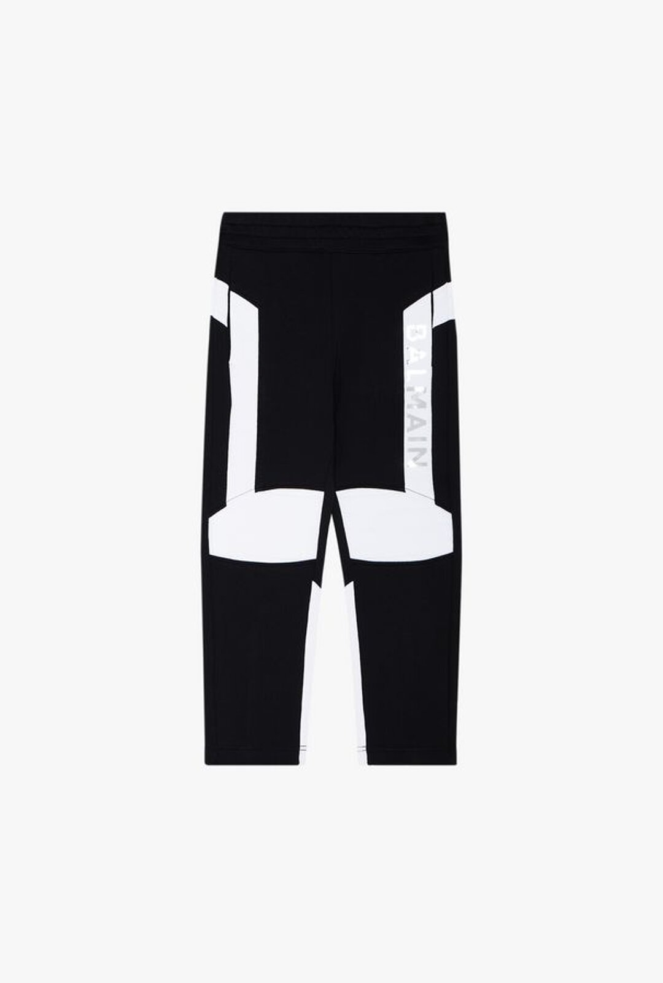 White And Black Cotton Pants With Silver Balmain Logo Print - Balmain Junior