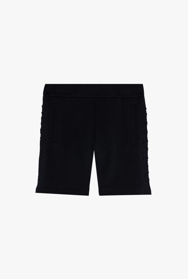 Shorts Neri In Cotone Con Logo Balmain Goffrato - Balmain Junior