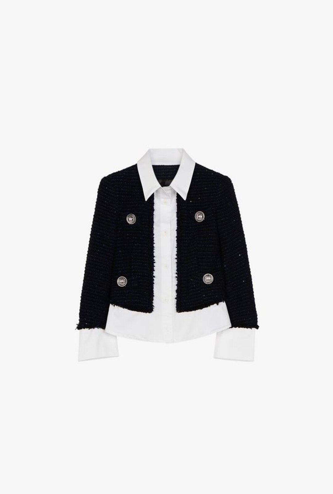 Black And White Shirt Jacket In Tweed - Balmain Junior