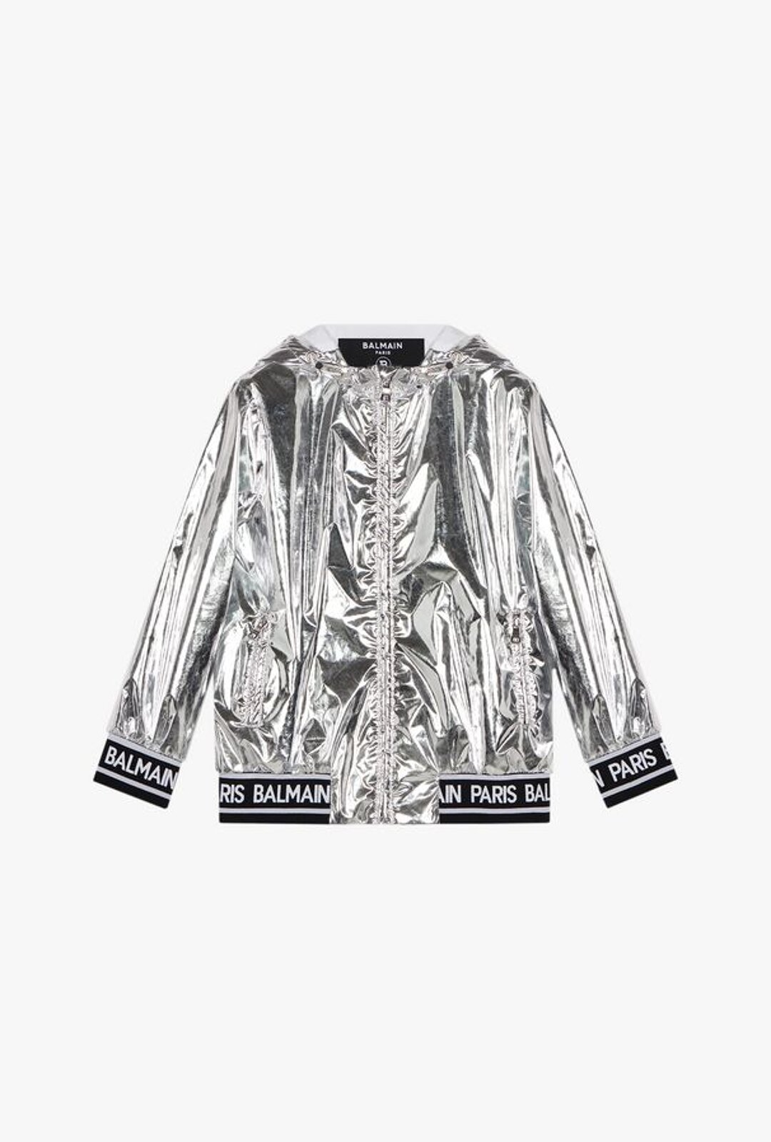 Silver Jacket With Hood And White Balmain Paris Logo - Balmain Junior