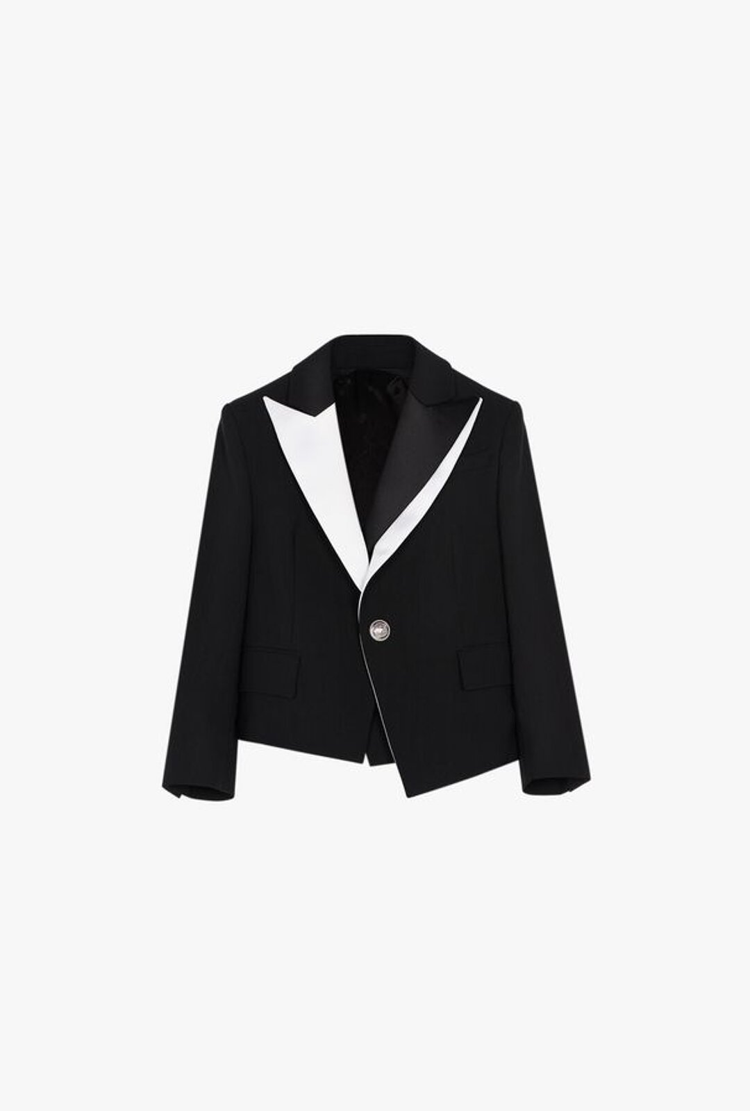 Double Breasted Black And White Wool Blazer - Balmain Junior