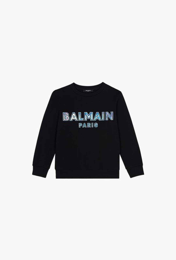 Felpa Nera In Cotone Con Logo Balmain Paris Goffrato Azzurro - Balmain Junior