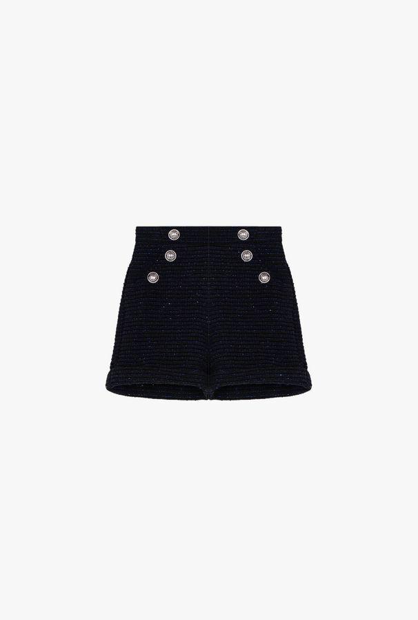 Shorts Neri E Blu In Lana Brillante - Balmain Junior