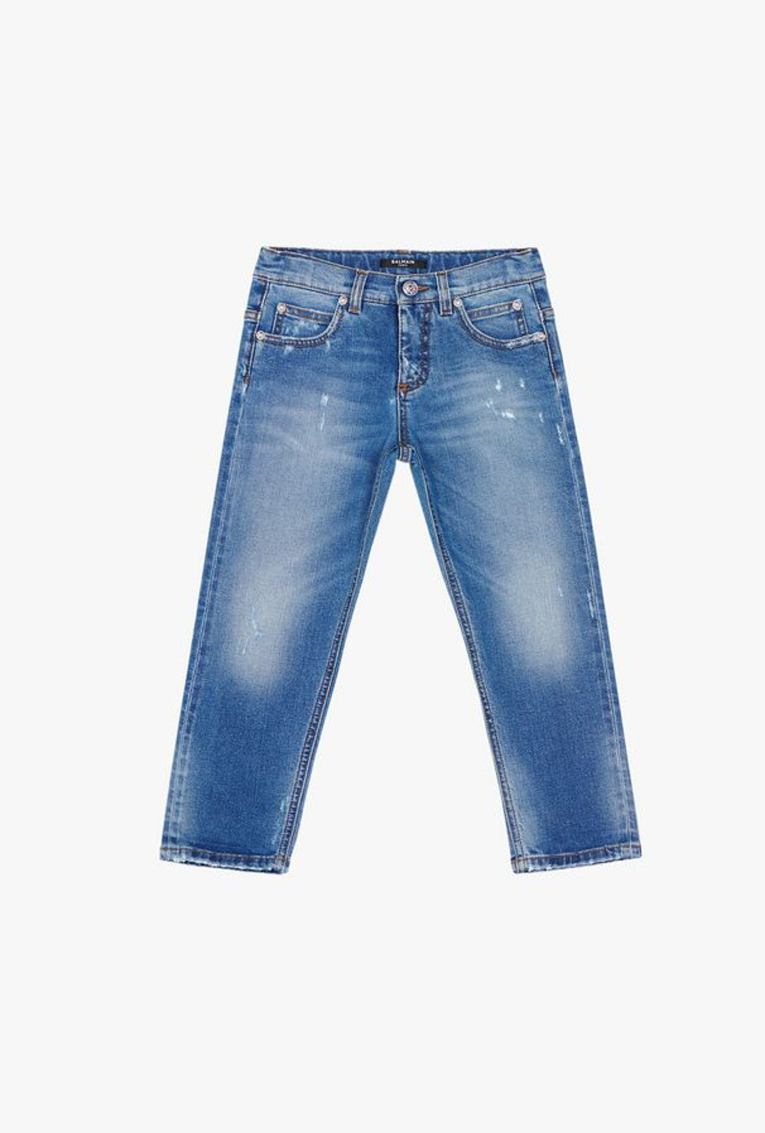 Faded Blue Cotton Jeans - Balmain Junior