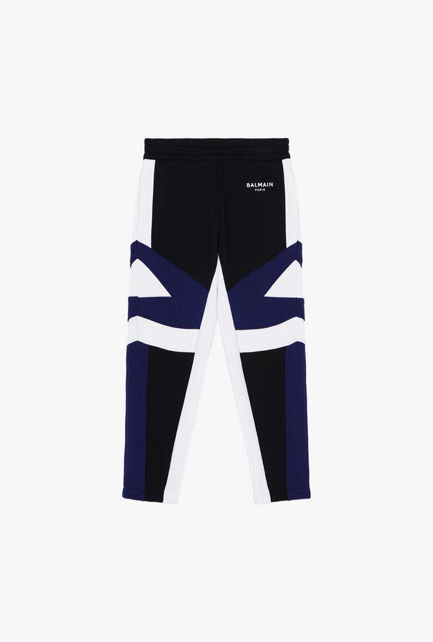 Black And Blue Cotton Pants With White Balmain Logo - Balmain Junior